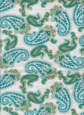 Gypsy by Stepping Stones: teal paisley on white background