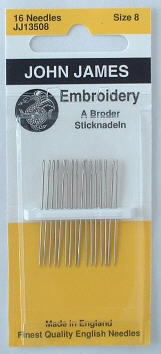 Needles, Embroidery size 8