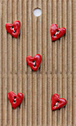 Hand made Ceramic Buttons - Tiny red hearts